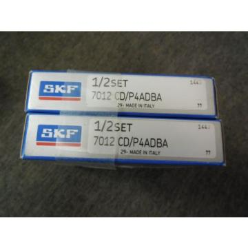 NEW SKF Stainless Steel Bearings-SUPER PRECISION BEARING SET # 7012 CD/P4ADBA